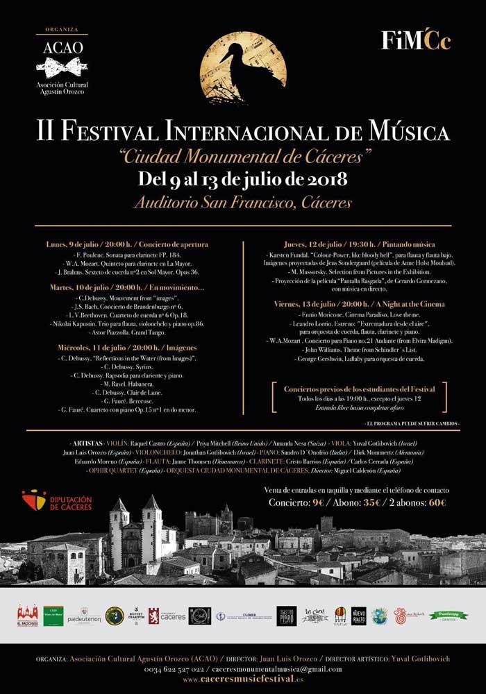 II Festival Internacional de Música Ciudad Monumental de Cáceres