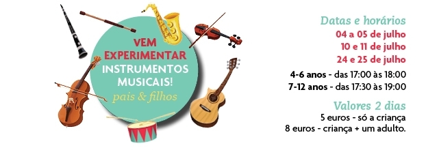 Vem experimentar instrumentos musicais!