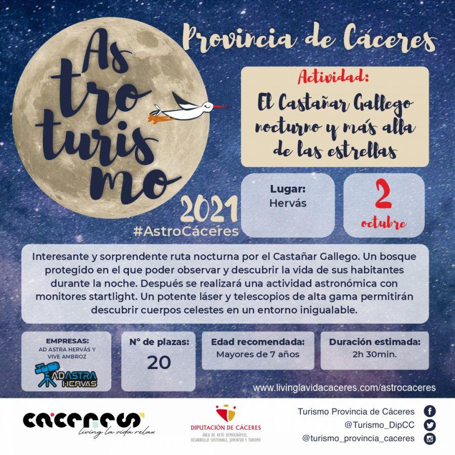 Astro Cáceres 2021   El Castañar Gallego nocturno y más allá de las estrellas