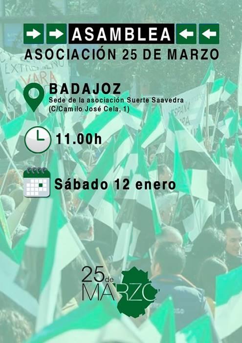 Próxima asamblea de Asociación 25 de Marzo   Sede A. Suerte Saavedra