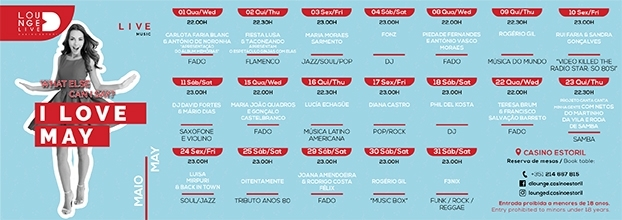 Casino Estoril oferece Música ao Vivo em maio no Lounge D