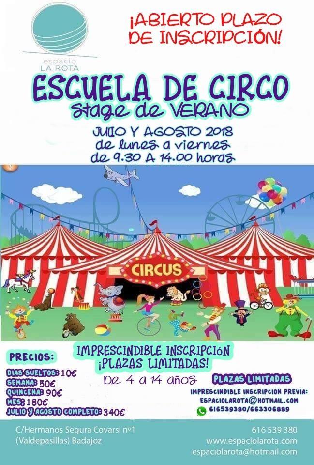 ESCUELA DE CIRCO. Stage de Verano 2018
