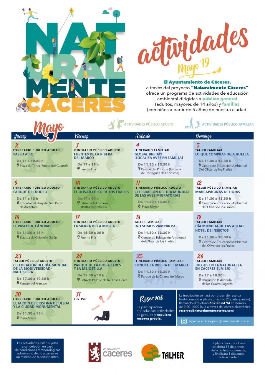 Actividades Mayo de 'Naturalmente Cáceres'