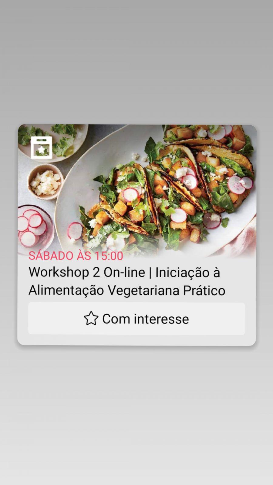 Workshop On-line | Iniciação à Alimentação Vegetariana Prático