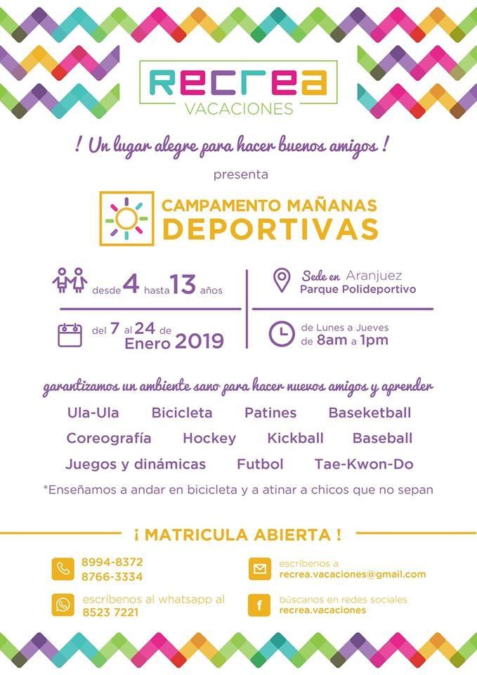 Campamento recrea verano. Mañanas deportivas 2019