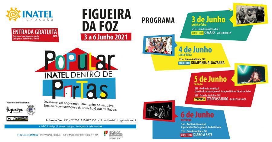 INATEL Dentro de Portas | Figueira da Foz | 3 a 6 de junho 2021 | Concertos e Atividades Infantis | Entrada livre