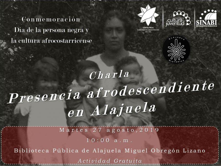 Charla: 'Presencia afrodescendiente en Alajuela'