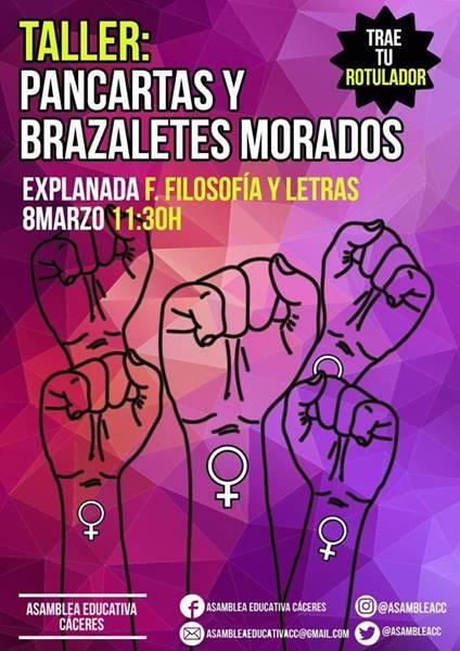 TALLER: PANCARTAS Y BRAZALETES MORADOS