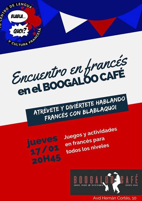 Encuentros en francés |BlablaQuoi Cáceres | Boogaloo Café