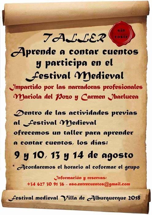 Taller 'Aprende a contar cuentos y participa en el Festival Medieval' || Alburquerque