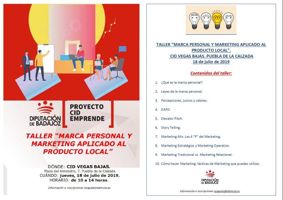 TALLER MARCA PERSONAL Y MARKETING APLICADO AL PRODUCTO LOCAL