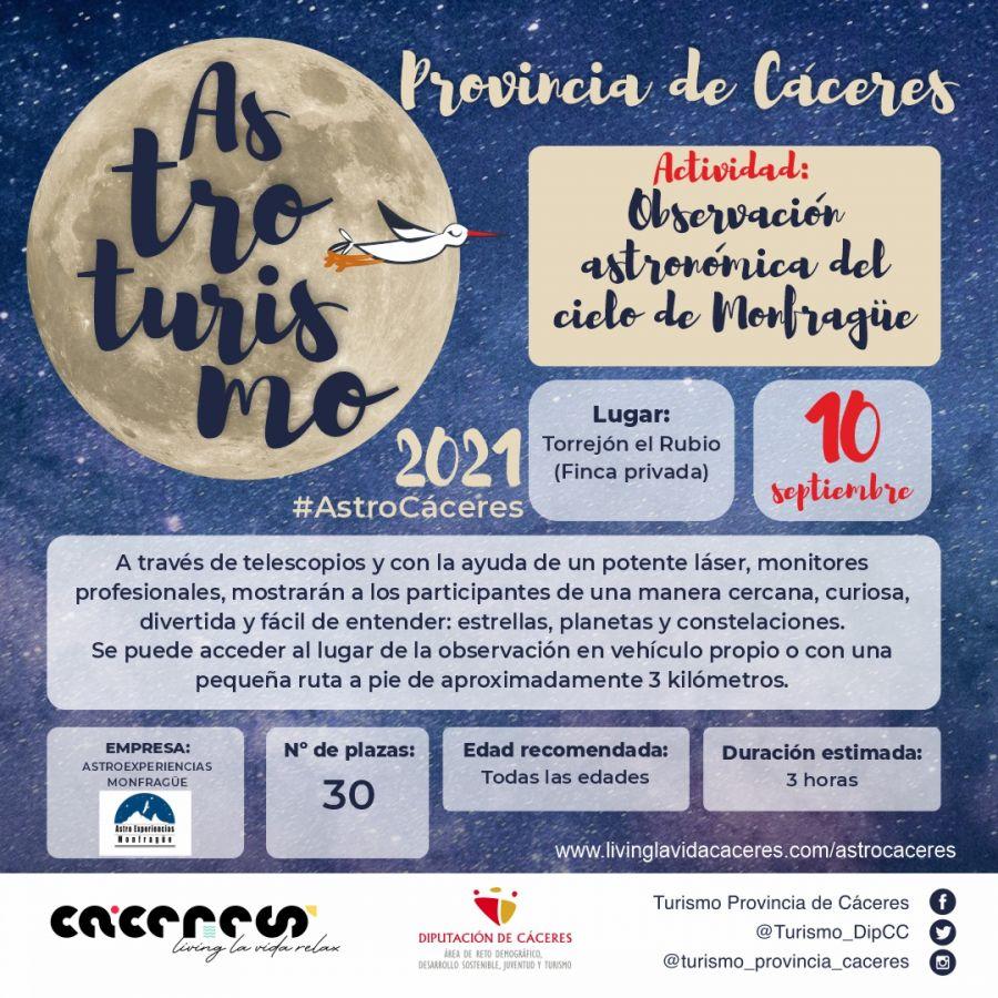 Astro Cáceres 2021 | Observación astronómica del cielo de Monfragüe. Descubre el paisaje nocturno en Monfragüe, Parque Nacional y Reserva Starlight