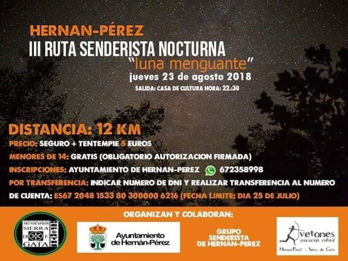 III Ruta Senderista Nocturna 'Luna Menguante'