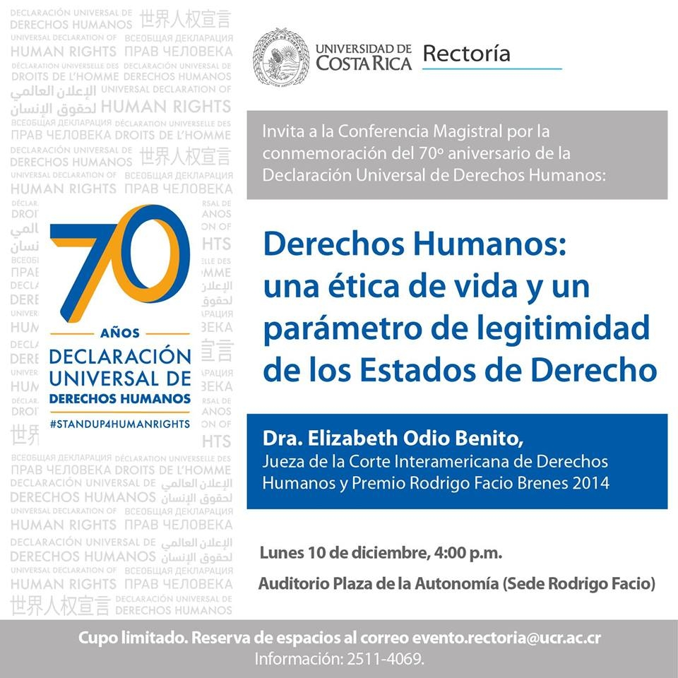 Conmemoración. Elizabeth Odio Benito. 70 años Declaración Universal de Derechos Humanos