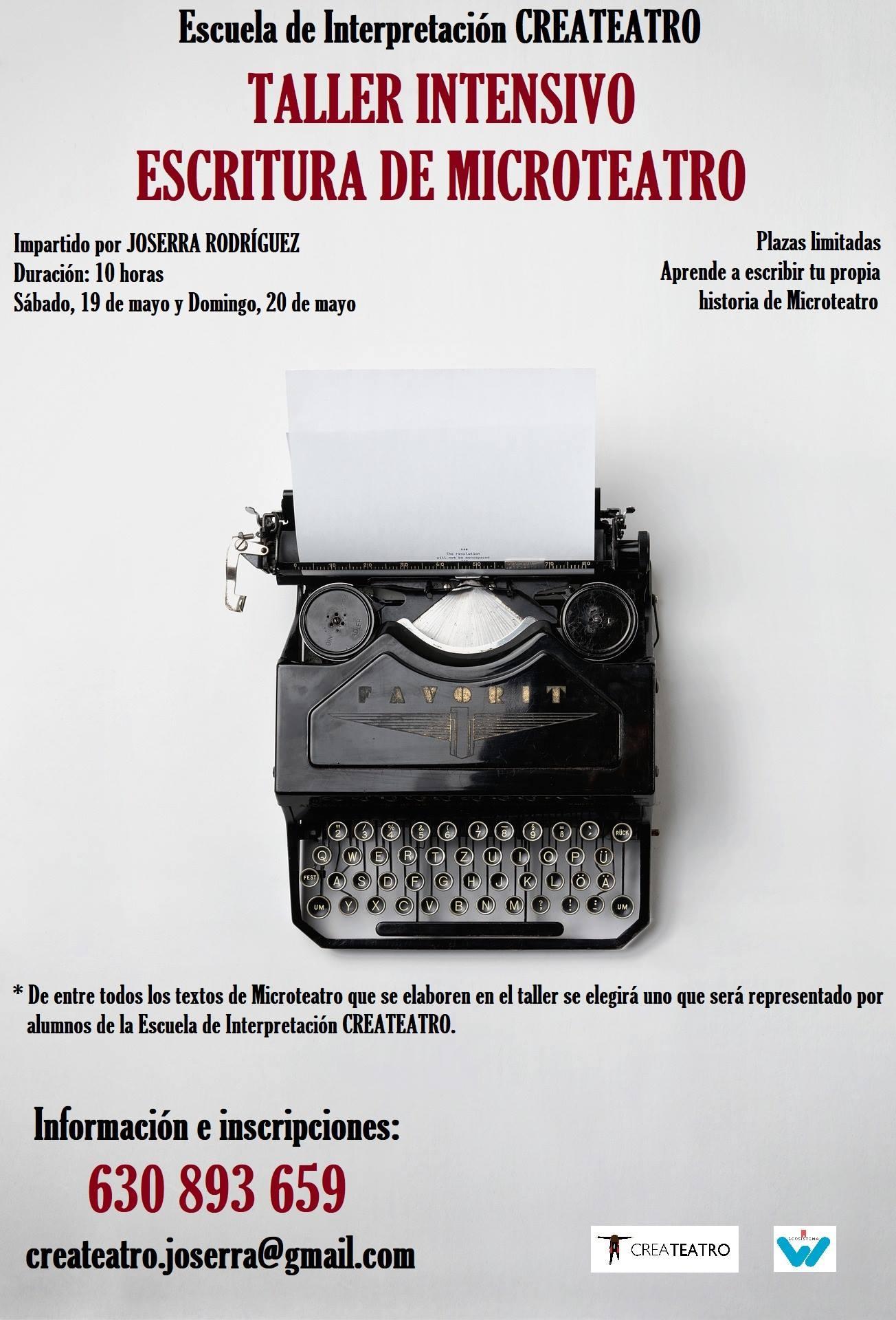 Taller Intensivo De Escritura De Microteatro