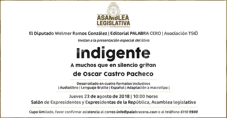 Presentación del libro: Indigente. De Oscar Castro Pacheco