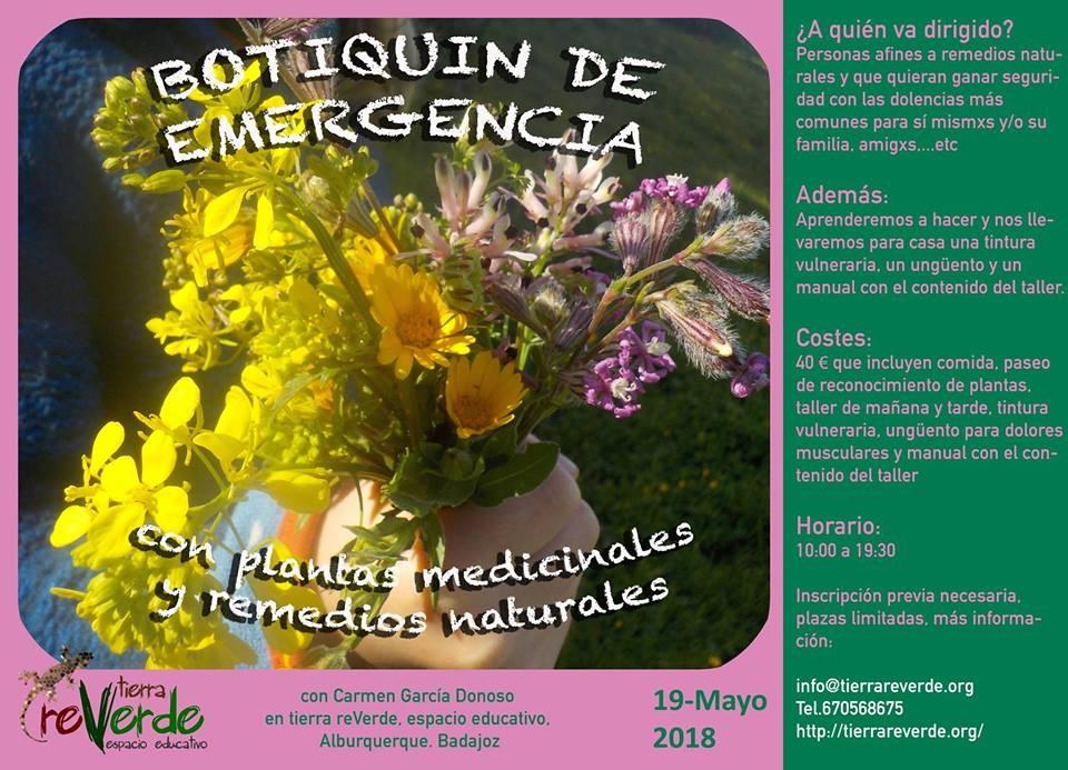 Taller botiquín de emergencia con plantas y remedios naturales