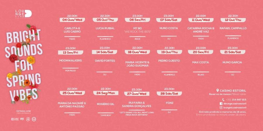 Em Março há mais música ao vivo no Lounge D Casino Estoril