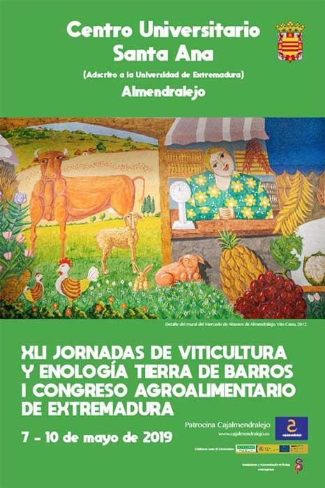 XLI Jornadas de Viticultura y Enología de Tierra de Barros. I Congreso Agroalimentario de Extremadura. 7 al 10 de Mayo de 2019. Almendralejo (Badajoz).