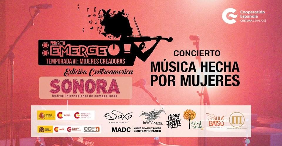 Noche en Blanco 2018. Emerge+Sonora, música hecha por mujeres. Varios artistas. Solistas, canción latinoamericana y otros