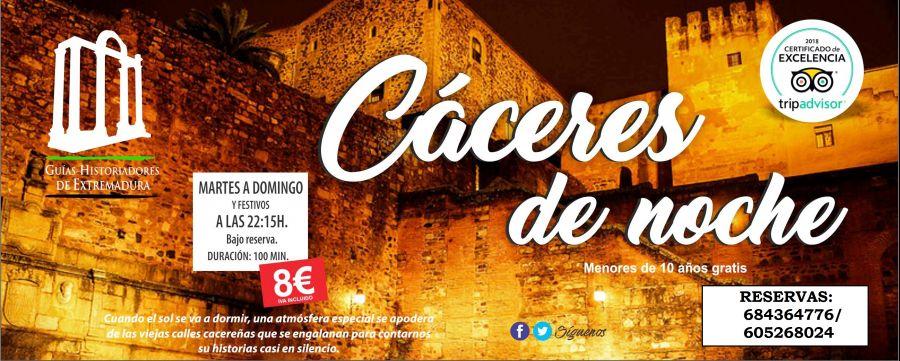'Cáceres de Noche': visita guiada nocturna en Cáceres