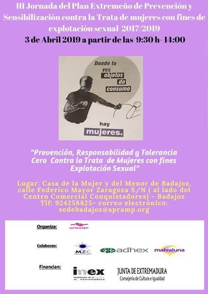 III Jornada 'Plan extremeño de prevención y sensibilización contra la trata de mujeres con fines de explotación sexual 2017/2019'
