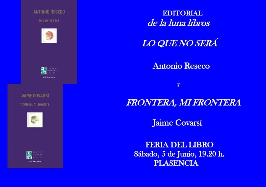 Presentación de los libros de Jaime Covarsí y Antonio Reseco en la Feria del Libro de Plasencia