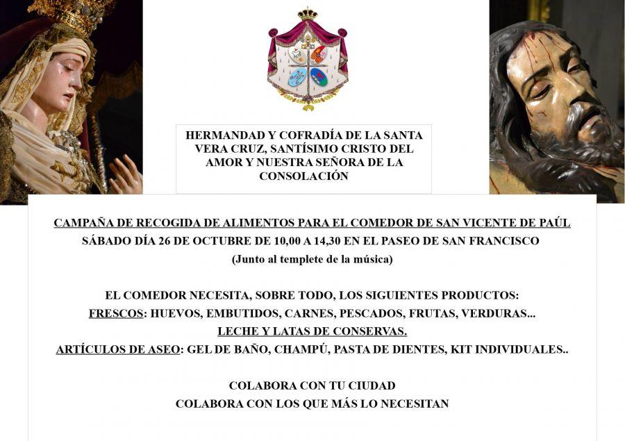 """LA VERA CRUZ RECOGE ALIMENTOS PARA EL COMEDOR SOCIAL DE """"SAN VICENTE DE PAÚL"""""""