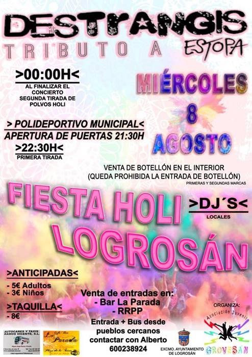 FIESTA HOLI en Logrosán || Tributo a Estopa