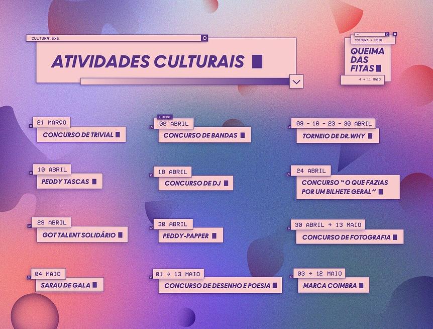 Actividades Culturais na Queima de Coimbra 2018
