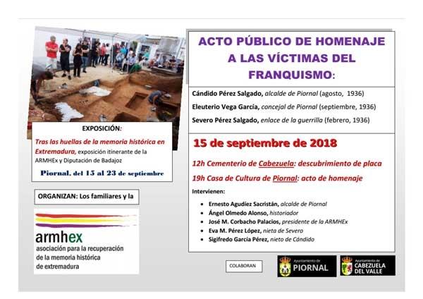 Homenaje a las víctimas del franquismo en Piornal y Cabezuela