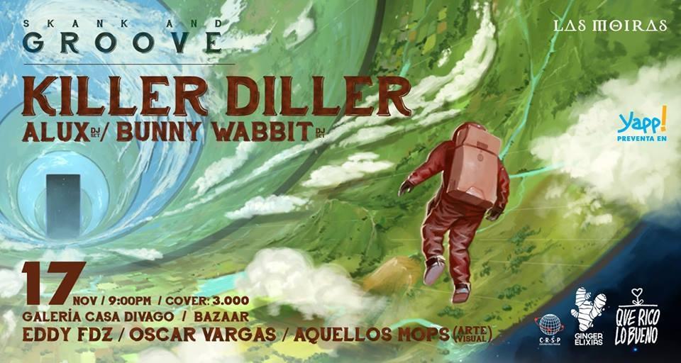 Skank and groove. Killer Diller. Banda, reggae instrumental