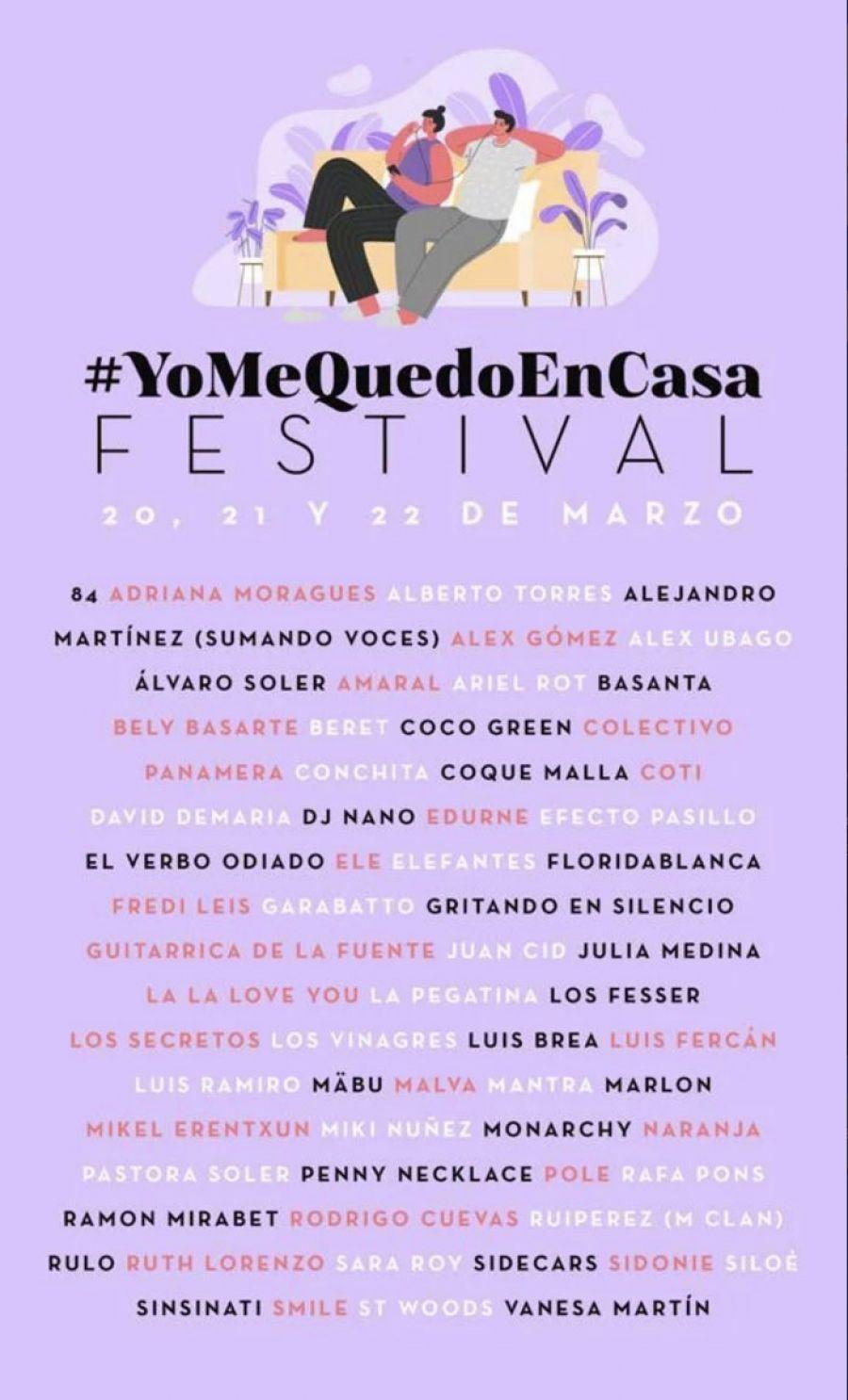 YoMeQuedoEnCasa FESTIVAL   20, 21 y 22 de Marzo