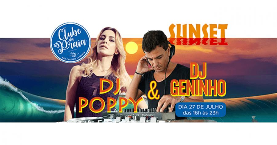 Dj Poppy e Dj Géninho no Clube da Praia