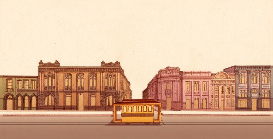 Retrospectiva de los edificios del San José de antaño. Arturo Rodríguez. Ilustraciones