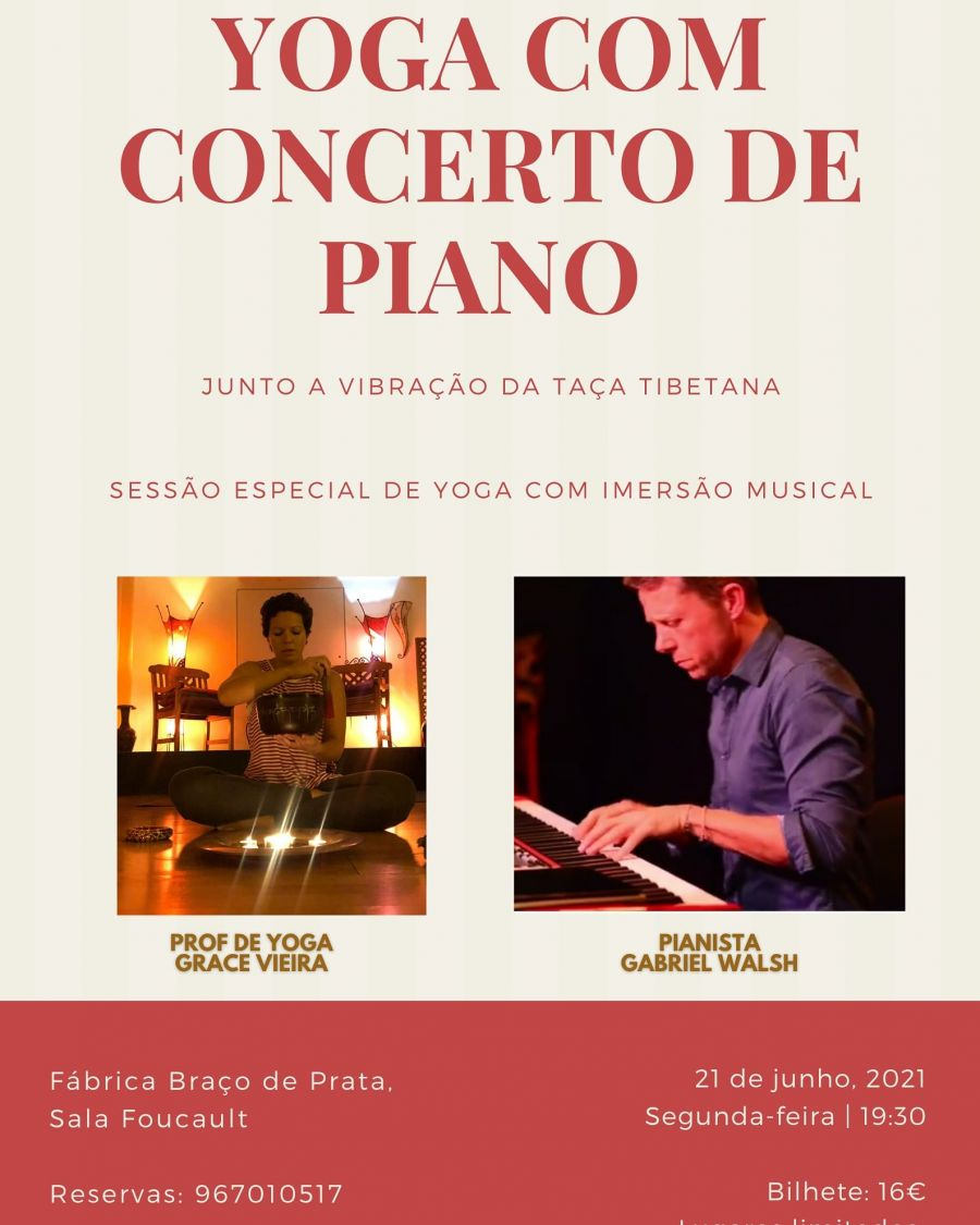 Sessão de Yoga ao som do concerto de piano ao vivo