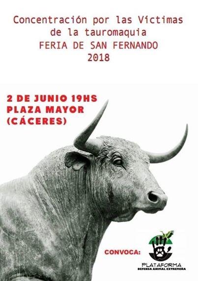 Concentración por las víctimas de la tauromaquia || Plaza Mayor de Cáceres