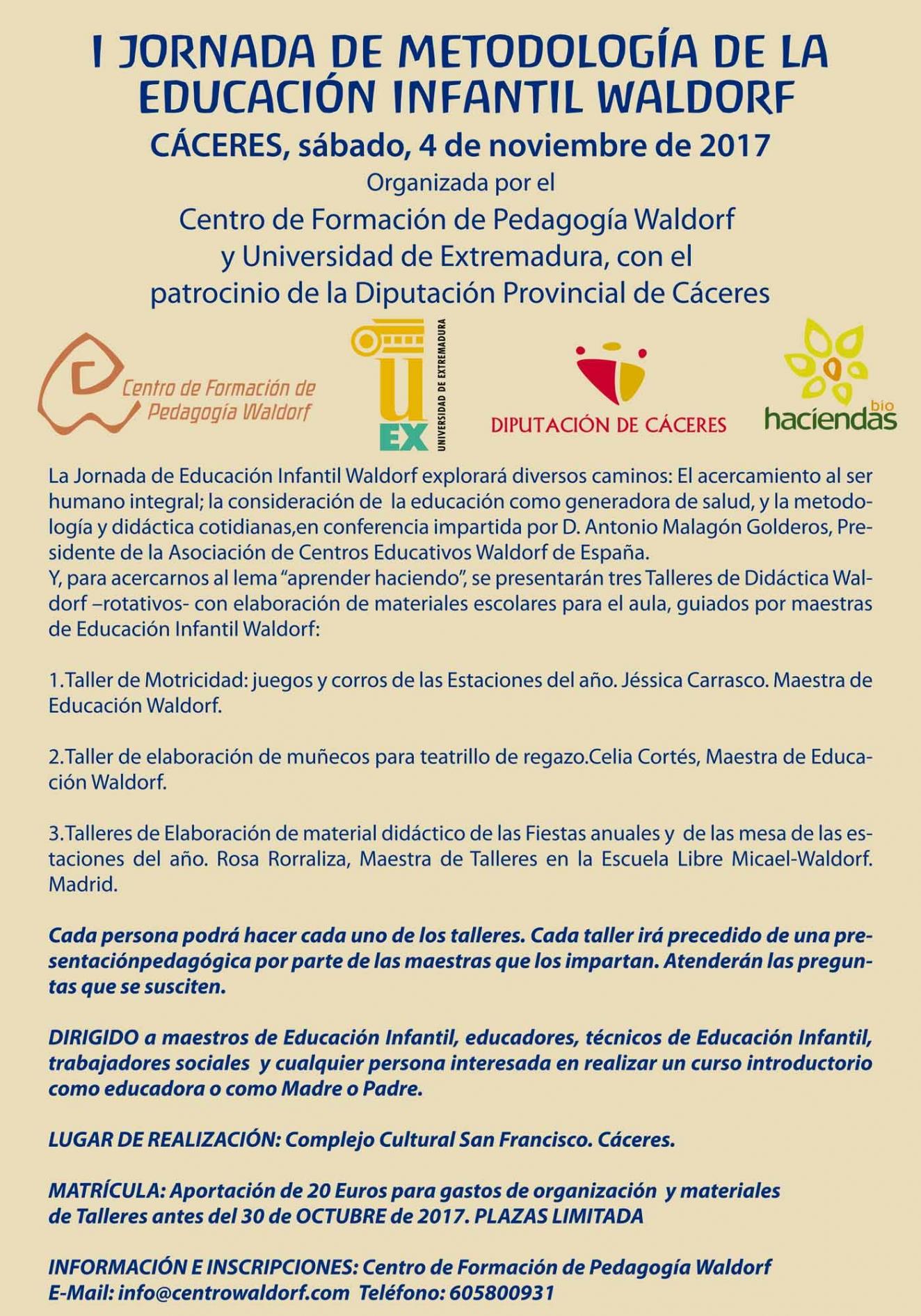 I JORNADA DE METODOLOGÍA DE LA EDUCACIÓN INFANTIL WALDORF
