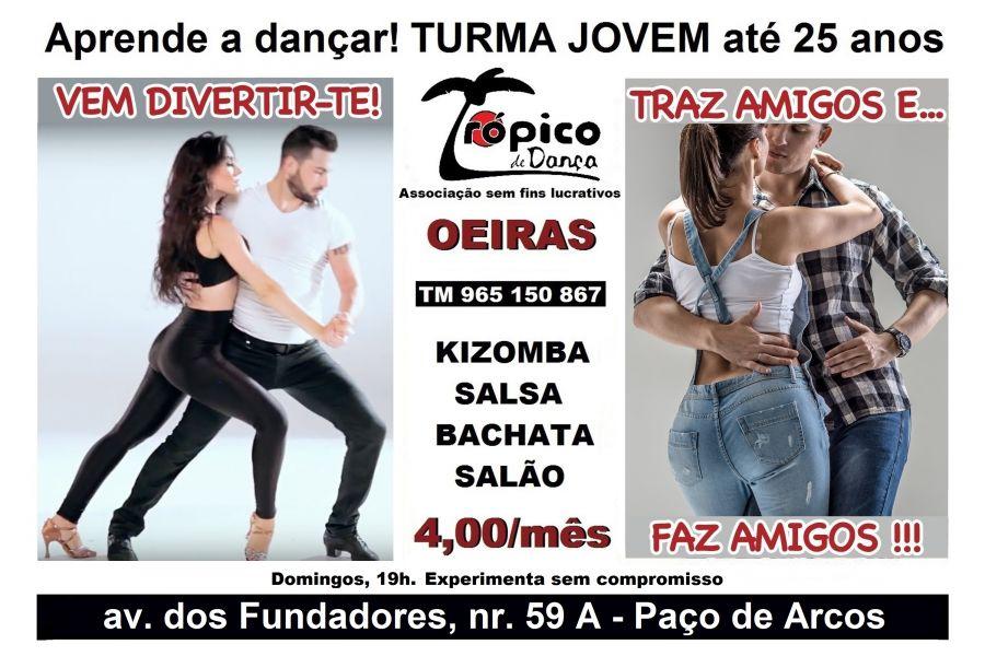 Condições especiais para Jovem 13 a 25 anos. Aprende a dançar Kizomba, Latinas, Salão!