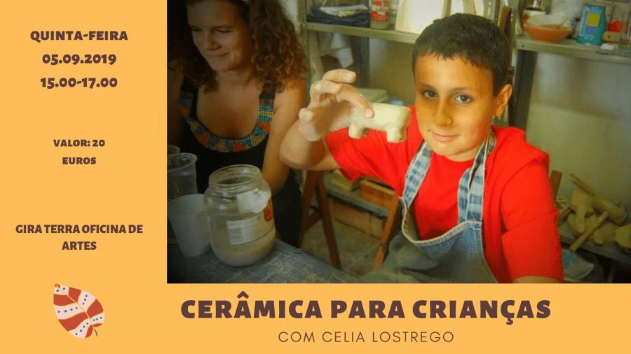 Oficina de cerâmica para crianças