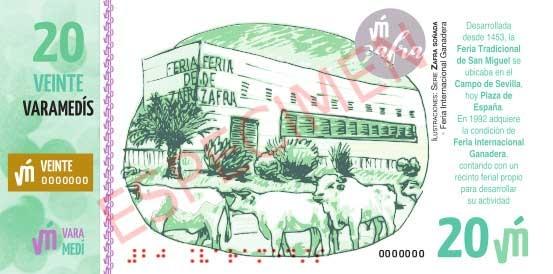 Lanzamiento billete 20 Varamedís dedicado a la Feria de Zafra