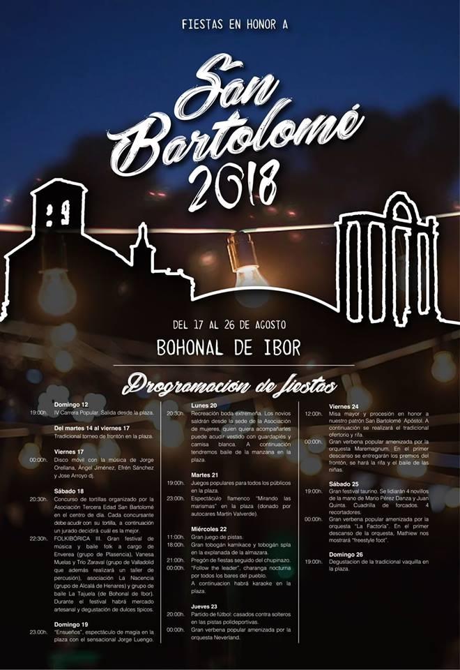 Fiestas en Honor a San Bartolomé 2018    Bohonal de Ibor