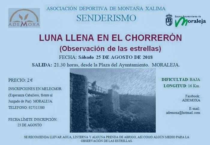 Luna llena en el Chorrerón || Observación de las estrellas || Moraleja