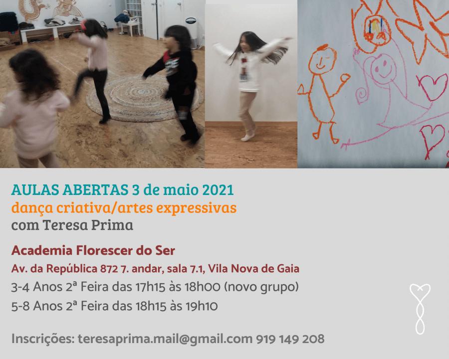 Aulas Abertas de dança criativa/ artes expressivas