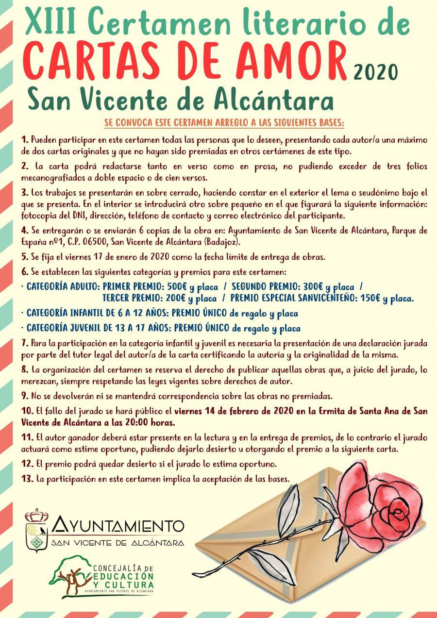 XIII CERTAMEN LITERARIO DE CARTAS DE AMOR