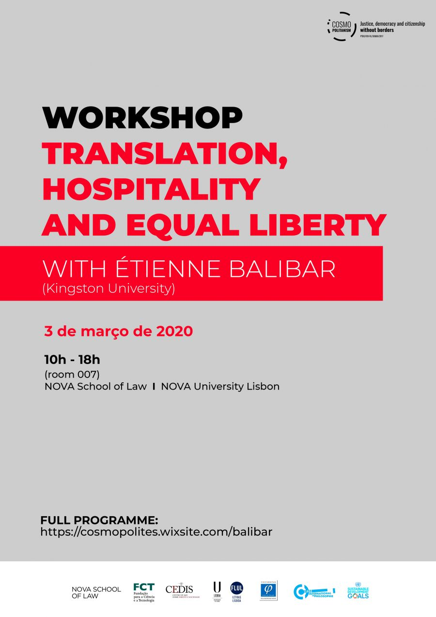 Translation, Hospitality, Equal Liberty. Workshop with Etienne Balibar (Kingston University)