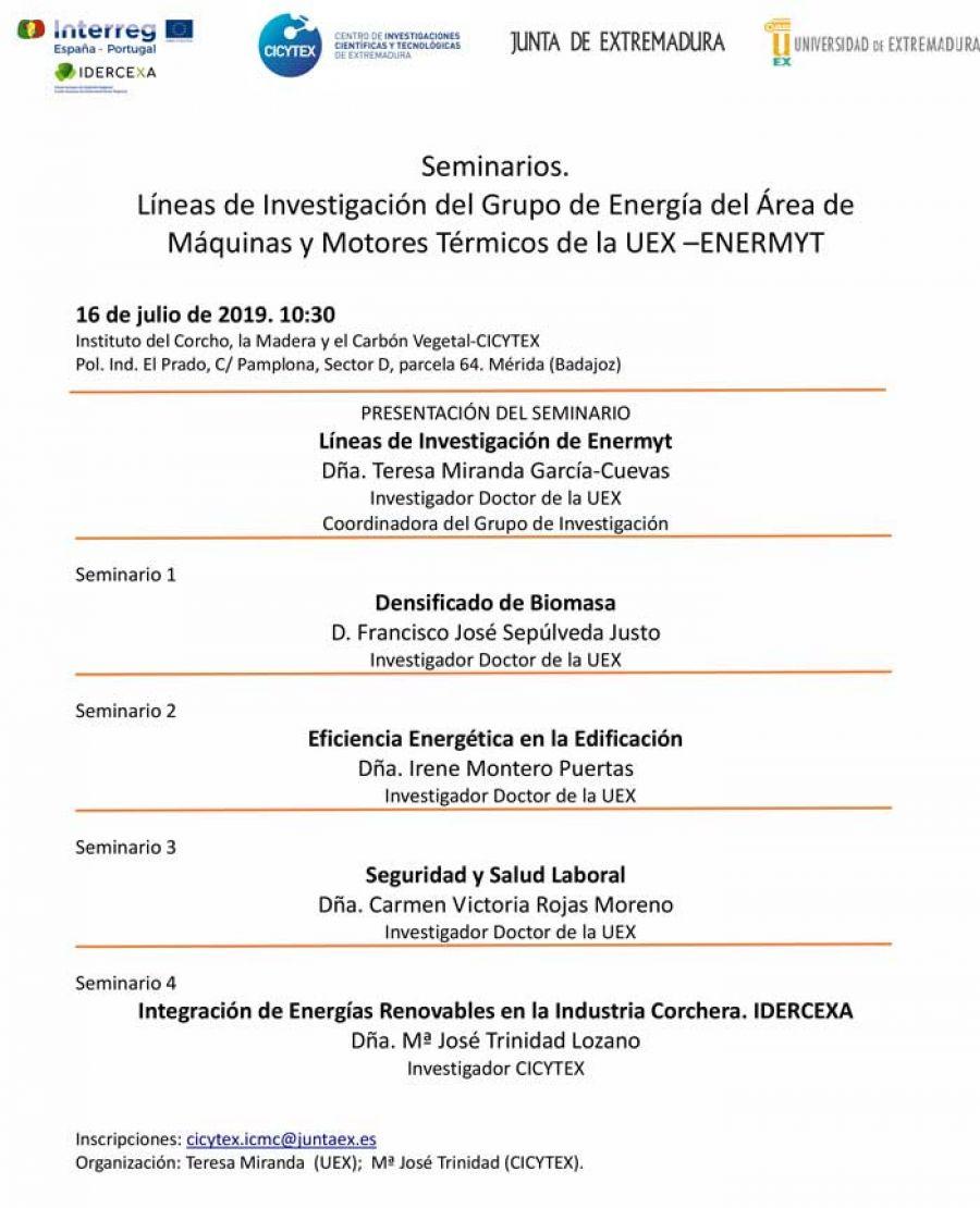 Seminarios. Líneas de Investigación del Grupo de Energía del Área de Máquinas y Motores Térmicos de la UEX –ENERMYT. Mérida