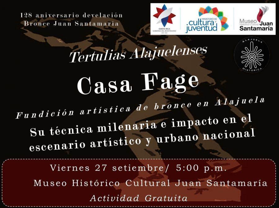Tertulia alajuelense. Casa Fage, fundición artística de bronce en Alajuela