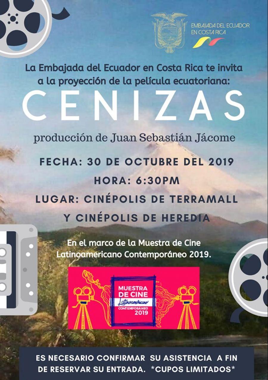 Muestra de cine latinoamericano contemporáneo 2019. Cenizas. Ecuador