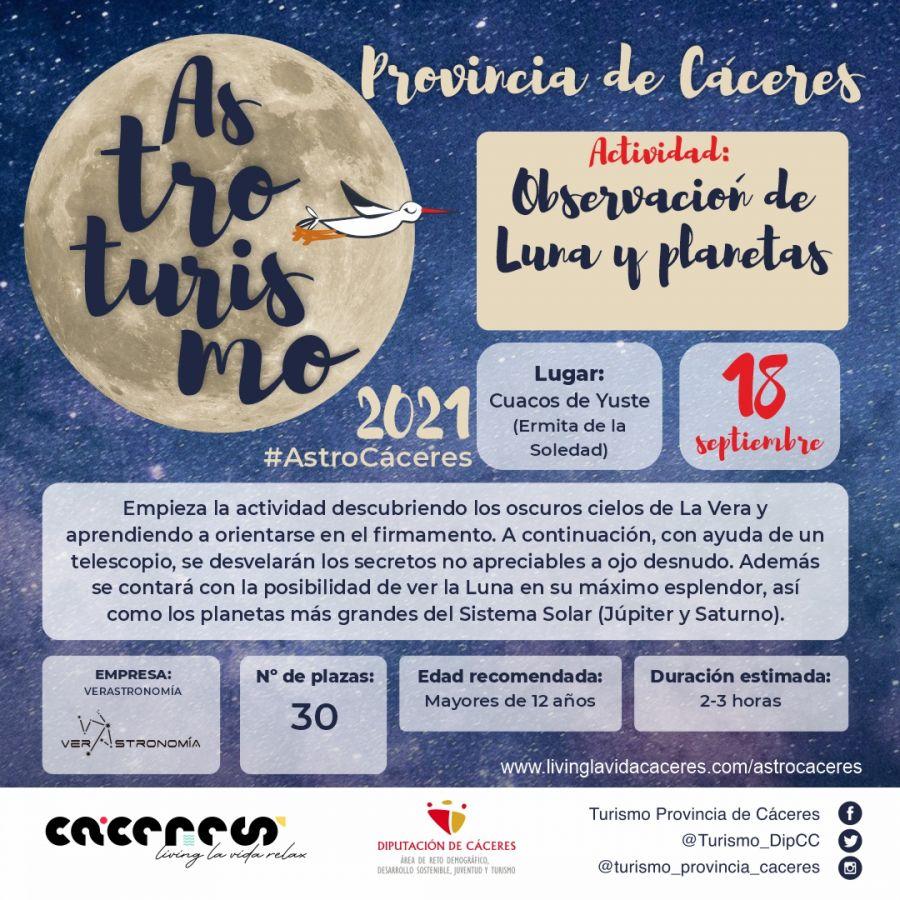 Astro Cáceres 2021 | Observación de Luna y planetas